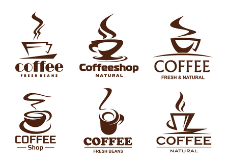 Vector coffee cups icons for coffeeshop cafe Vector Illustration