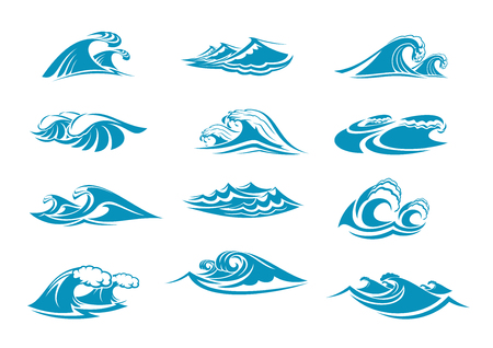 Vector icons of ocen water wave blue splash Stock Vector - 89175401