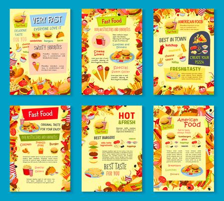 Fast food meals vector menu posters Illustration