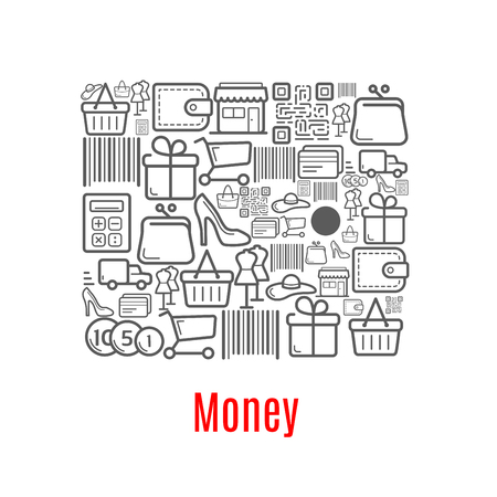 Money purse of shopping retail icons