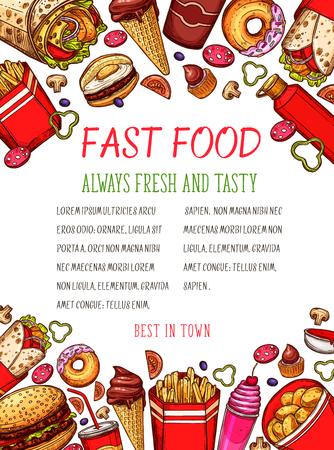 Vector fast food sketch poster for restaurant Imagens - 89175410