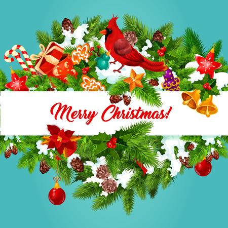 snow cardinal: Merry Christmas holiday vector greeting card
