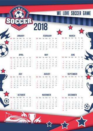 Vector calendar 2018 for soccer or football Ilustracja