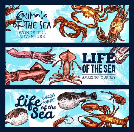 スケッチ動物と魚のベクトルシーライフポスター
