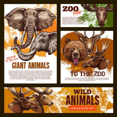 Vector zoo sketch poster wild giant animals