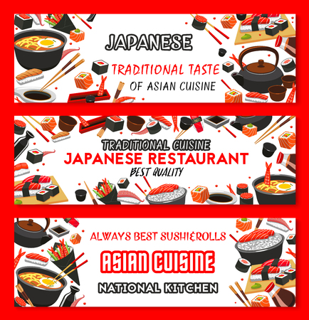 Vector Japanese cuisine Asian food banners