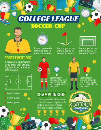 Vector poster for soccer or football league cup