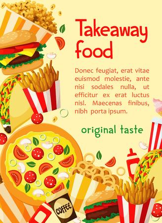 Fast food vector poster takeaway restaurant menu Illustration
