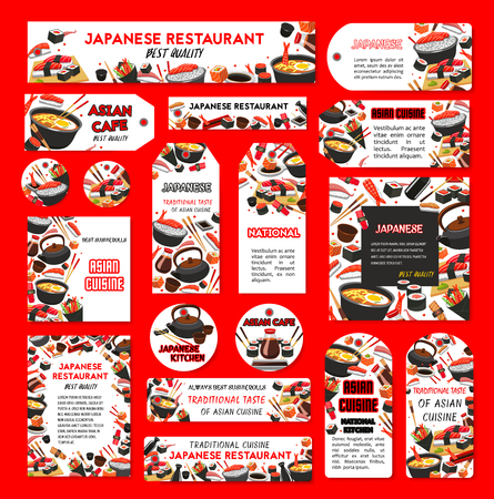 Vector Japanese sushi restaurant banners posters