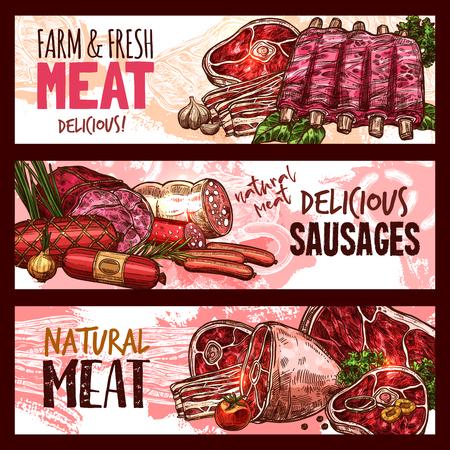 벡터 스케치 도살장 고기 제품 배너