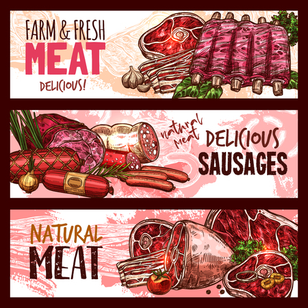 Vector sketch butchery shop meat product banners Çizim