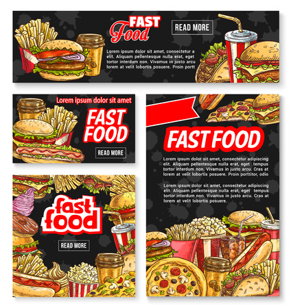 Vector fast food sketch restaurant poster banner Иллюстрация