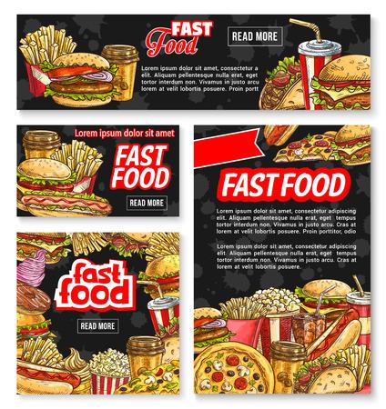 Vector fastfood schets restaurant poster banner