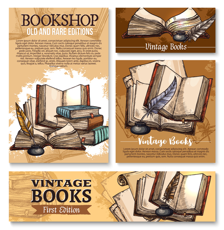 Vector sketch poster for old vintage books library Stock Illustratie