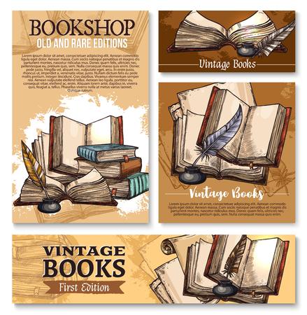 Vektorskizzenplakat für alte Weinlese bucht Bibliothek
