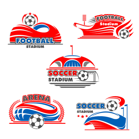 Vector icons of soccer arena or football stadium Illustration