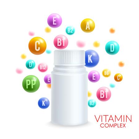 Vitamin complex pills vector 3D plastic bottle Vectores