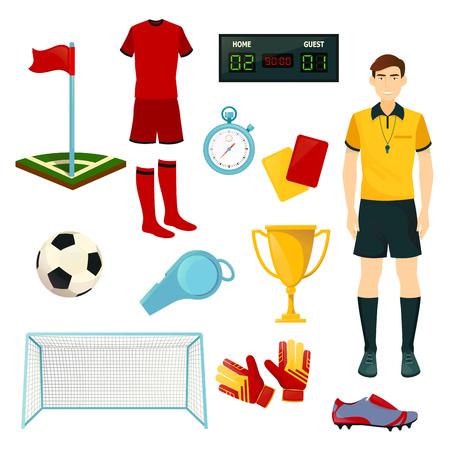 サッカーやサッカーのスポーツゲームのためのベクトルアイコン