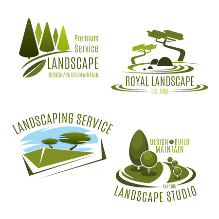 Vector icons gardening landscape design company Illustration