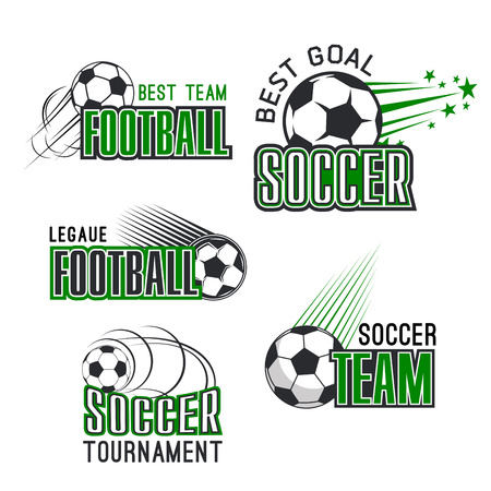 Vector icons for soccer league football tournament