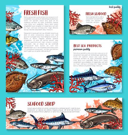 해산물 시장을위한 벡터 물고기 스케치 포스터
