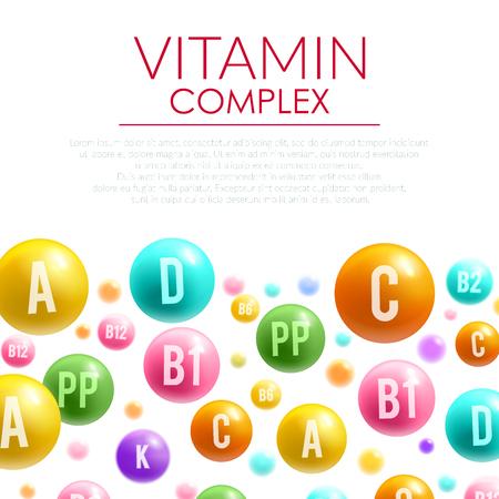 Vitamin complex vector poster mineral bubble pills