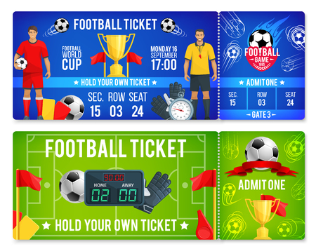 Vector tickets template for soccer football cup
