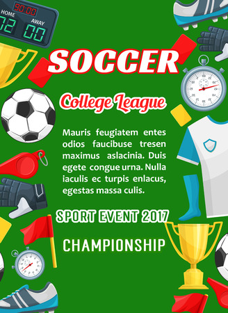 Vector poster voor voetbal college league cup game
