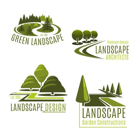 Ícones do vetor para empresa de paisagismo da natureza