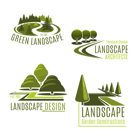 Vector icons for nature landscaping company Stock Illustratie