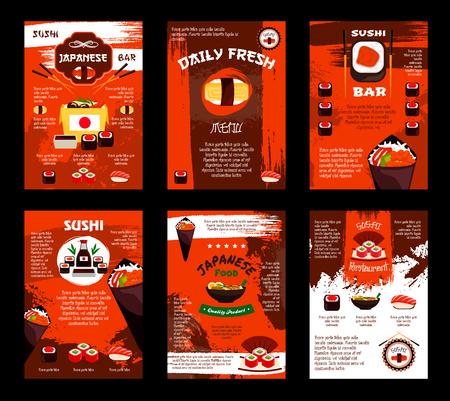 Vectormenu voor Japans de susharestaurant van de voedselsushi Stock Illustratie