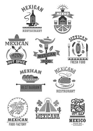 Mexican food cuisine restaurant vector icons set