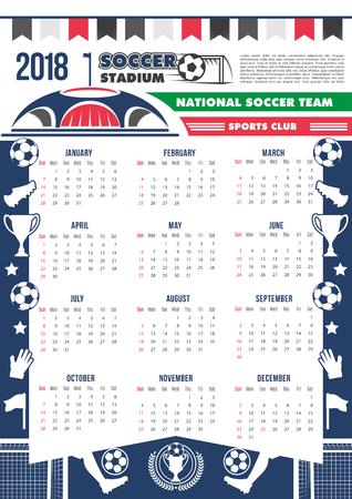Vector 2018 calendar template soccer football Ilustracja