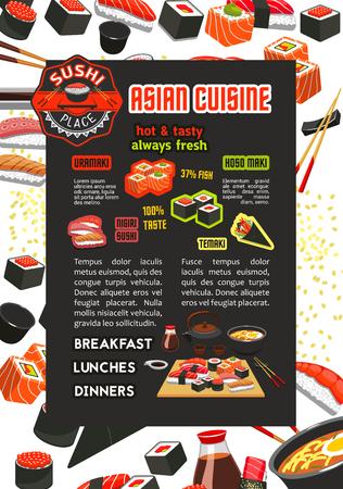 Vector poster for Japanese sushi Asian restaurant