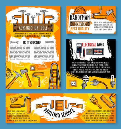 Home repair and home renovation poster template of handyman work tools for interior finishing and painting. Vector sketch carpentry hammer, drill and electrical fuse or socket plug and screwdriver Illusztráció