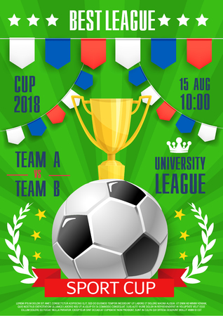 Vector football poster soccer college league cup Ilustracja