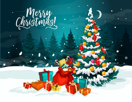 Kerstboom met Nieuwjaar geschenk wenskaart Stock Illustratie