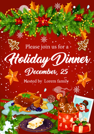 christmas drink: Christmas dinner invitation for Xmas party design