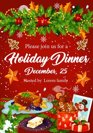 Zaproszenie na świąteczne kolacje na Boże Narodzenie party design Ilustracje wektorowe
