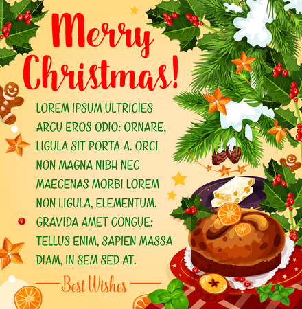 Christmas holiday poster with New Year dessert Illustration