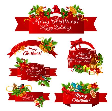 メリークリスマスウィッシュベクトルグリーティングリボンアイコン  イラスト・ベクター素材
