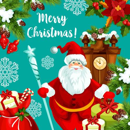 Santa greeting card for Christmas and New Year Illustration