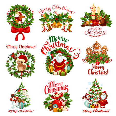 Christmas holiday wreath and New Year gift badge Vectores