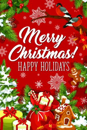 メリー クリスマス ハッピー ホリデー ベクトル グリーティング カード