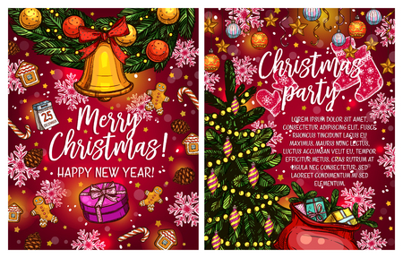 Merry Christmas greeting card sketch design of Christmas tree lights garland and Santa presents gift. Vector New Year decorations, snowflakes, golden bell and star or holly wreath for winter holiday