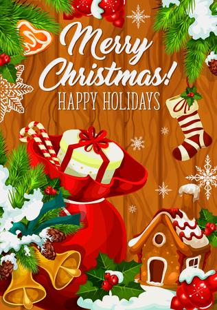 Vrolijk de kaartontwerp van de Kerstmisgroet voor de seizoengebonden wens van de de wintervakantie. Vector Santa presenteert geschenk tas en gouden bellen. Vectornieuwjaars kous en peperkoekkoekje in de decoratie van de sneeuwkerstboom Stock Illustratie