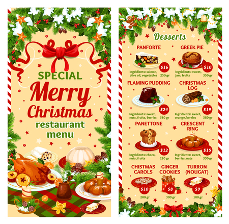 Christmas dinner vector restaurant dessert menu
