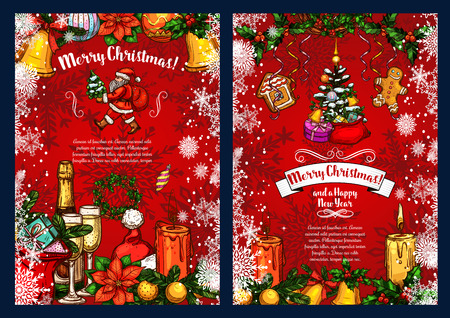 Christmas and New Year poster with winter holiday sketches. Santa gift, bell and snowflake, Xmas tree and holly wreath, ball, candle, cookie and poinsettia, decorated by ribbon banner with greetings