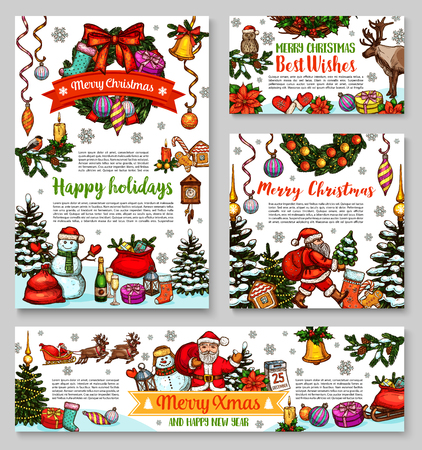 Santa and Christmas gift sketch banner for New Year greeting card. Xmas tree wreath with holly berry, bell and ball, Santa, snowman and present, candle, sock and snowflake, reindeer sleigh and ribbon