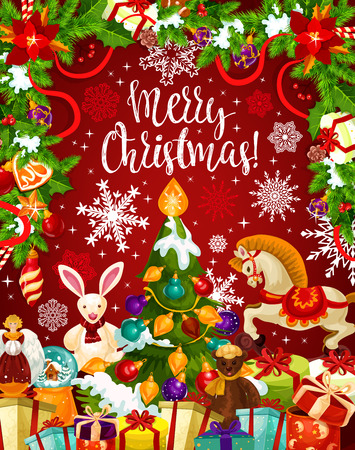 クリスマスツリーとギフトカード新年ガーランド  イラスト・ベクター素材